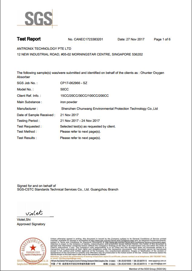 chứng nhận SGS test