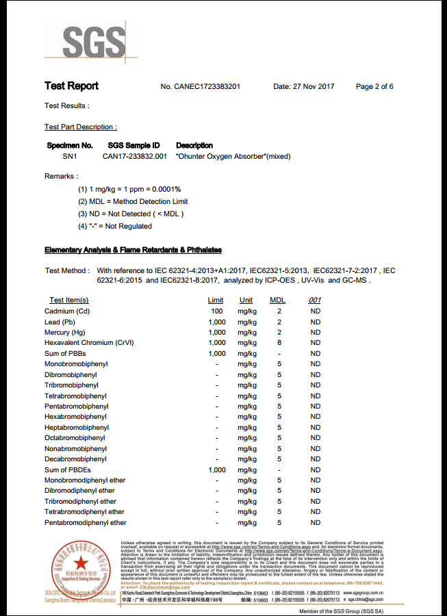 chứng nhận sgs test gói hút oxy ohunter