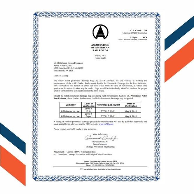 chứng nhận AAR túi khí chèn hàng container Atmet