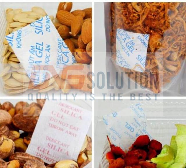 Hình ảnh ví dụ gói hút ẩm giá rẻ trong các sản phẩm thực phẩm khô