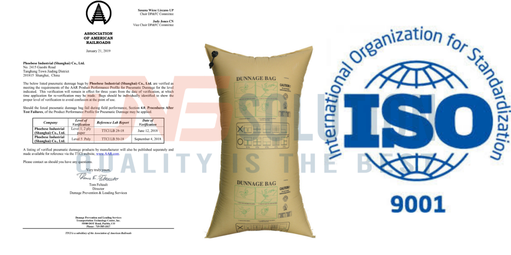 AAR certification of Phoebese dunnage bag