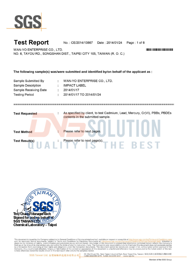 rohs certification of impact label