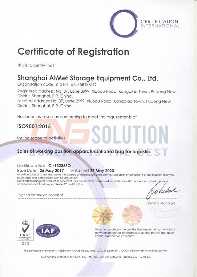 Chứng nhận ISO 9001:2015 của túi khí AtMet